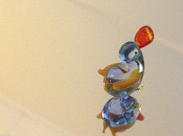 Micro miniature small hand blown glass little clear blue duck USA made image 3