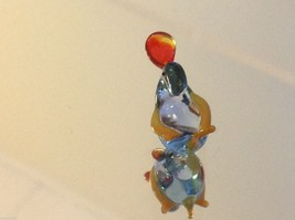 Micro miniature small hand blown glass little clear blue duck USA made image 5