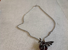 Pewter Metal Necklace with Demon Pendant and Red Enamel Vintage Look image 3