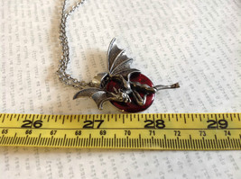 Pewter Metal Necklace with Demon Pendant and Red Enamel Vintage Look image 5