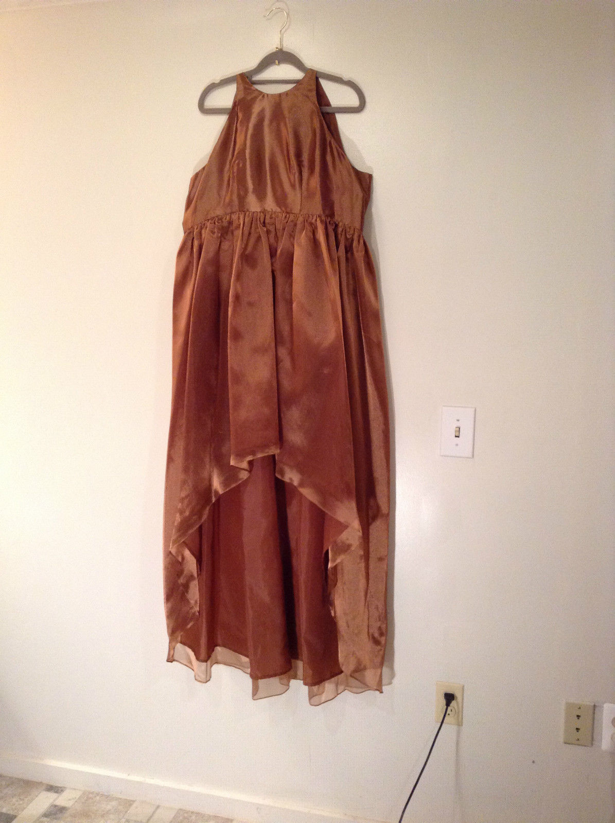 Pizarro Designs Evening Party Dress Copper with Gloves  Shawl Wrap Never Used