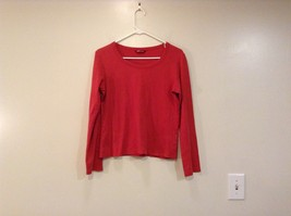 Red Long Sleeve Cotton Scoop Neck Shirt No Size Tag Measurements Below H and M