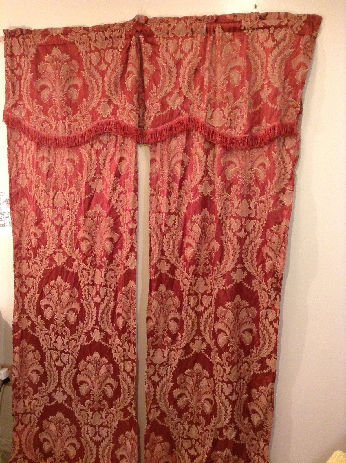 Set of Two Window Curtains with Valances Fabric Jacquard Red Pink with Beige