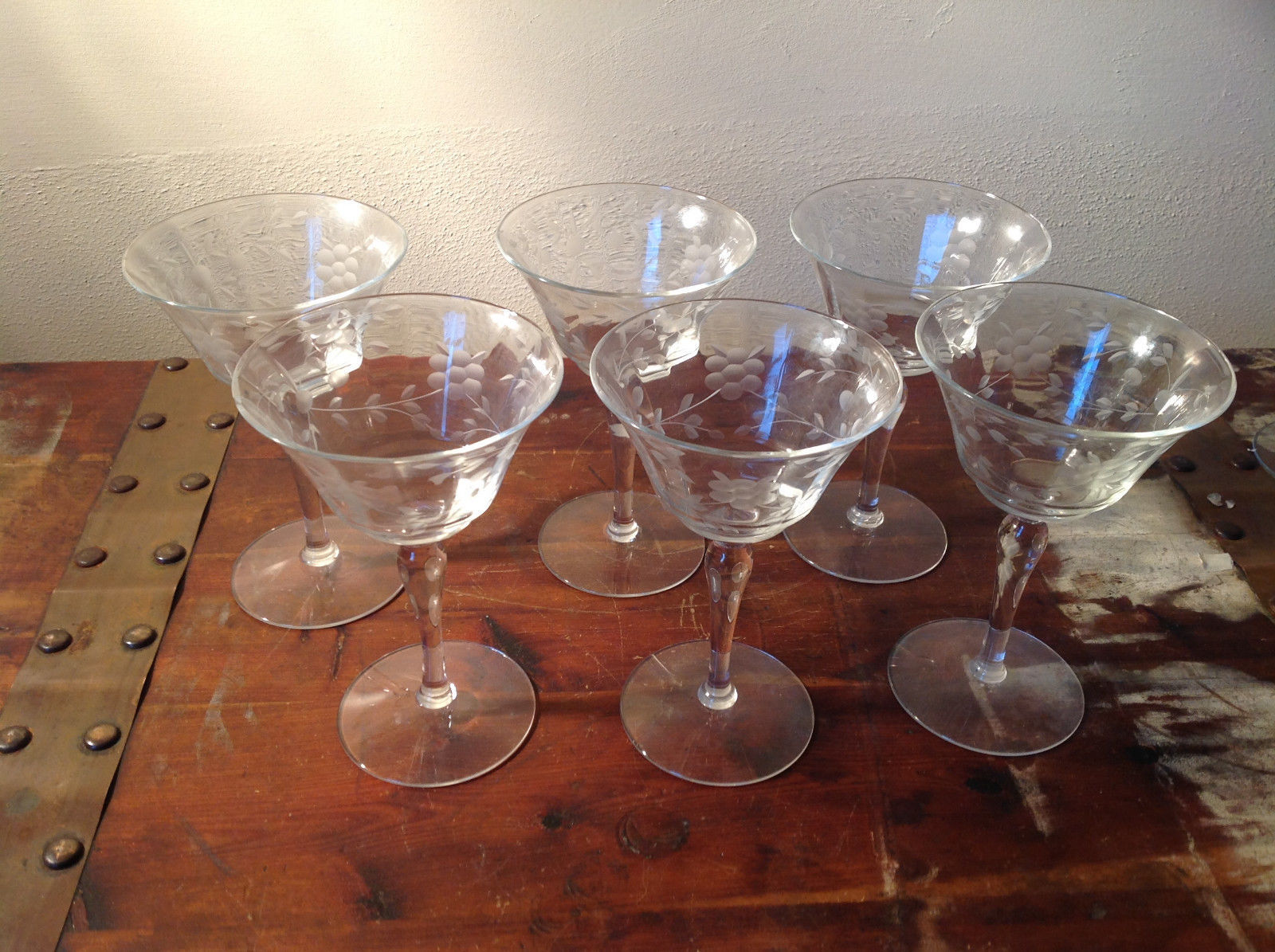Six Piece Champagne Glass Set Crystal Copper Wheel Engraving 6 Inches High