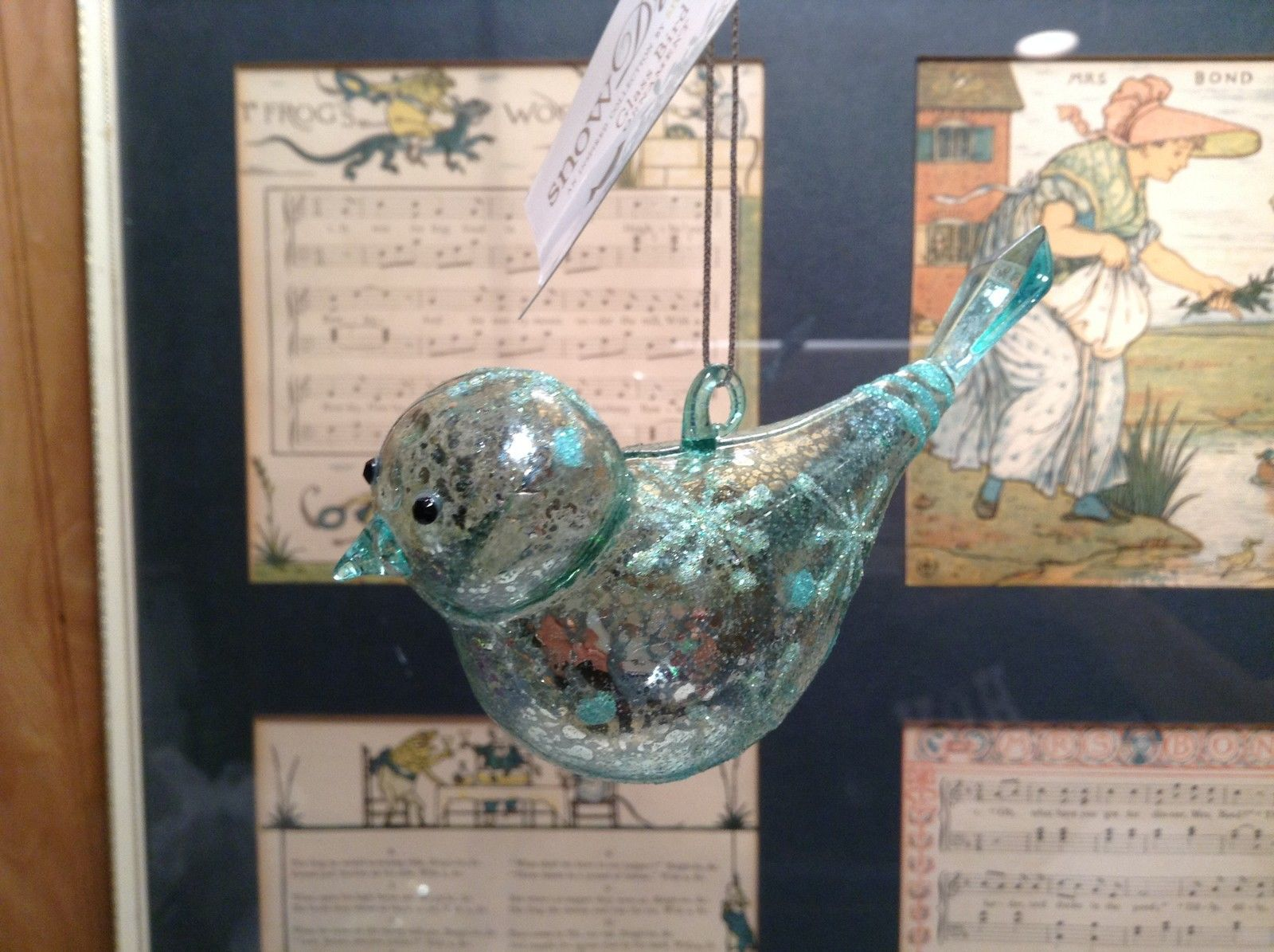 Snow Dream Glass Sea Blue Colored Bird Ornament