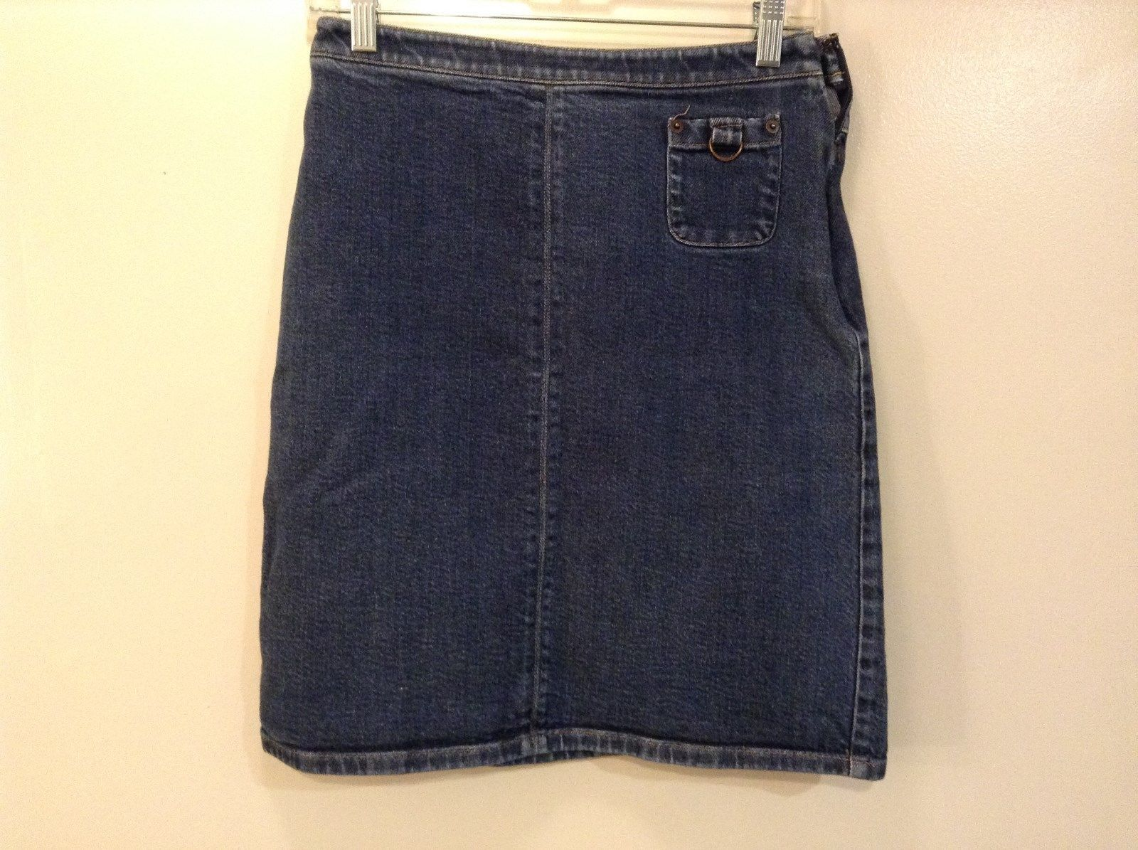 Size 4 Blue Denim Loft Ann Taylor Stretch Skirt Side Zipper Small Front Pocket
