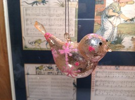 Snow Dream Glass Pink Beige Colored Bird Ornament