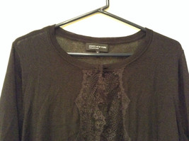 Size XL Black with Lace Trim on Front Long Sleeves Blouse Jones New York image 2