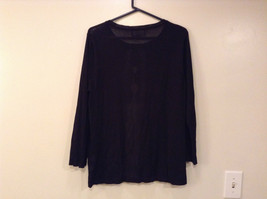 Size XL Black with Lace Trim on Front Long Sleeves Blouse Jones New York image 5