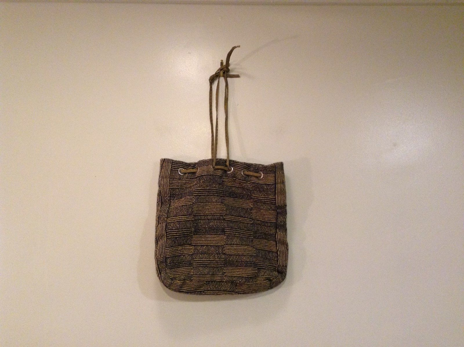 Tan Black Pattern Busy Bee Bag Handbag Unlined String Closure