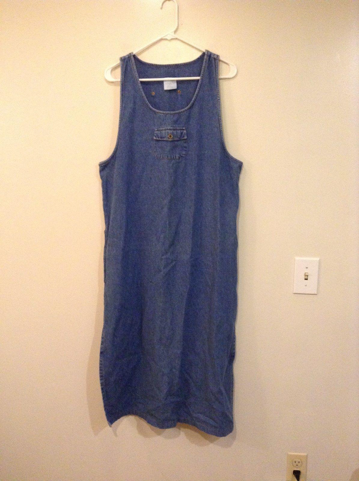 Style Studio Sleeveless Jean Dress Jumper Decorative Pockets Front Back Size L