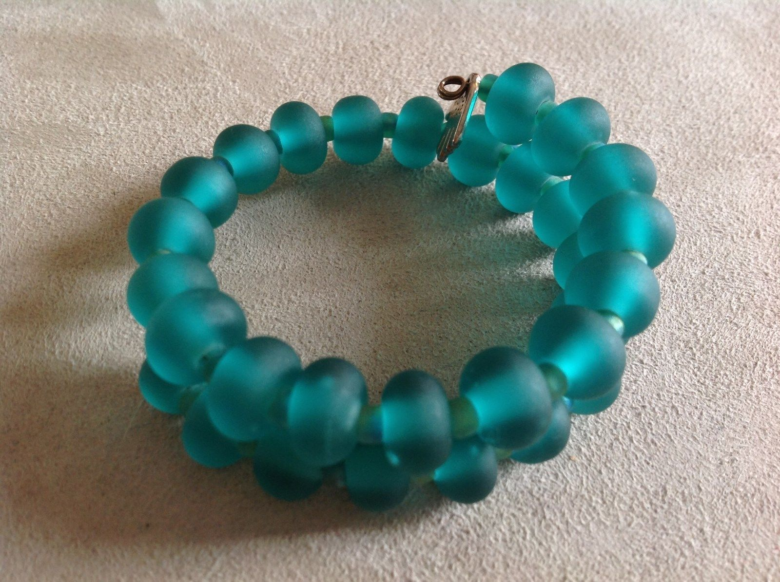 Teal Glass Frosted Rondelle Memory Wire Bracelet Handmade Lampwork