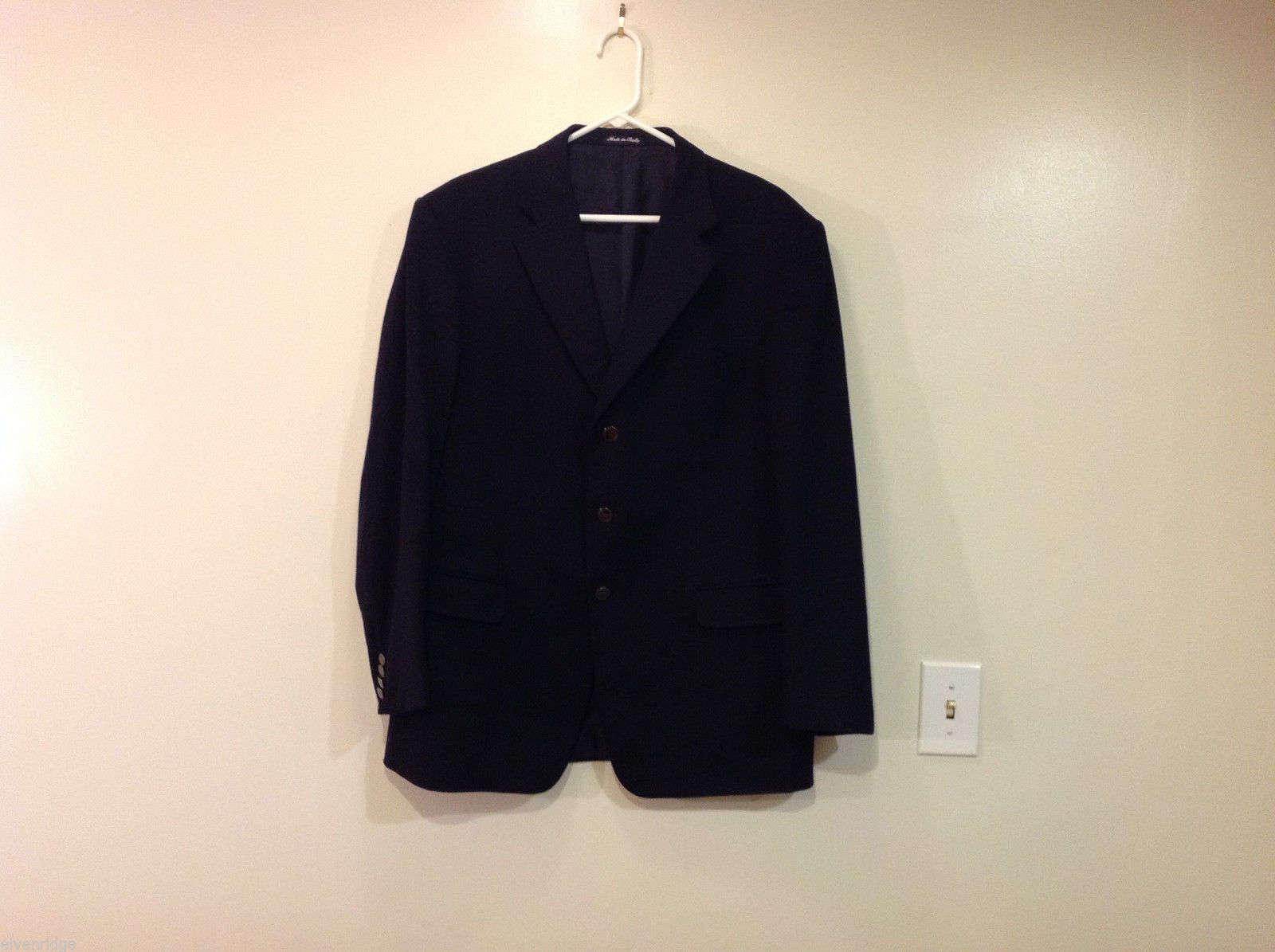Trussardi Three Buttons Black 100% Wool Blazer Suit Jacket, Size EUR.52R
