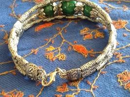 Tibetan Silver Clasp Bracelet Green Jade Stone Bead Funky Exotic Bohemian image 4