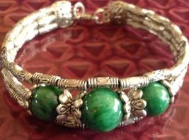 Tibetan Silver Clasp Bracelet Green Jade Stone Bead Funky Exotic Bohemian image 5