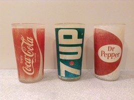 Vintage Glasses One Coca Cola One 7UP and One Dr Pepper White Red White Green