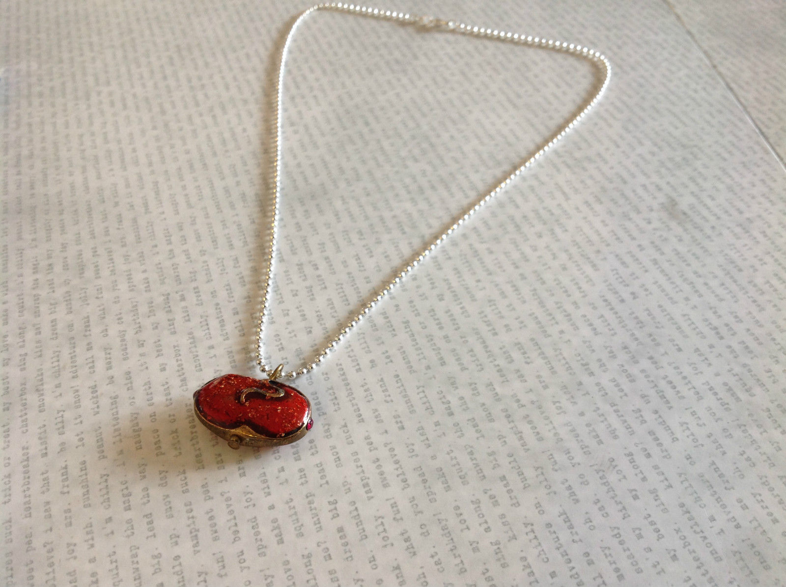 Vintage Handmade Red Enamel Pendant Necklace Rhinestone Sterling Silver Chain