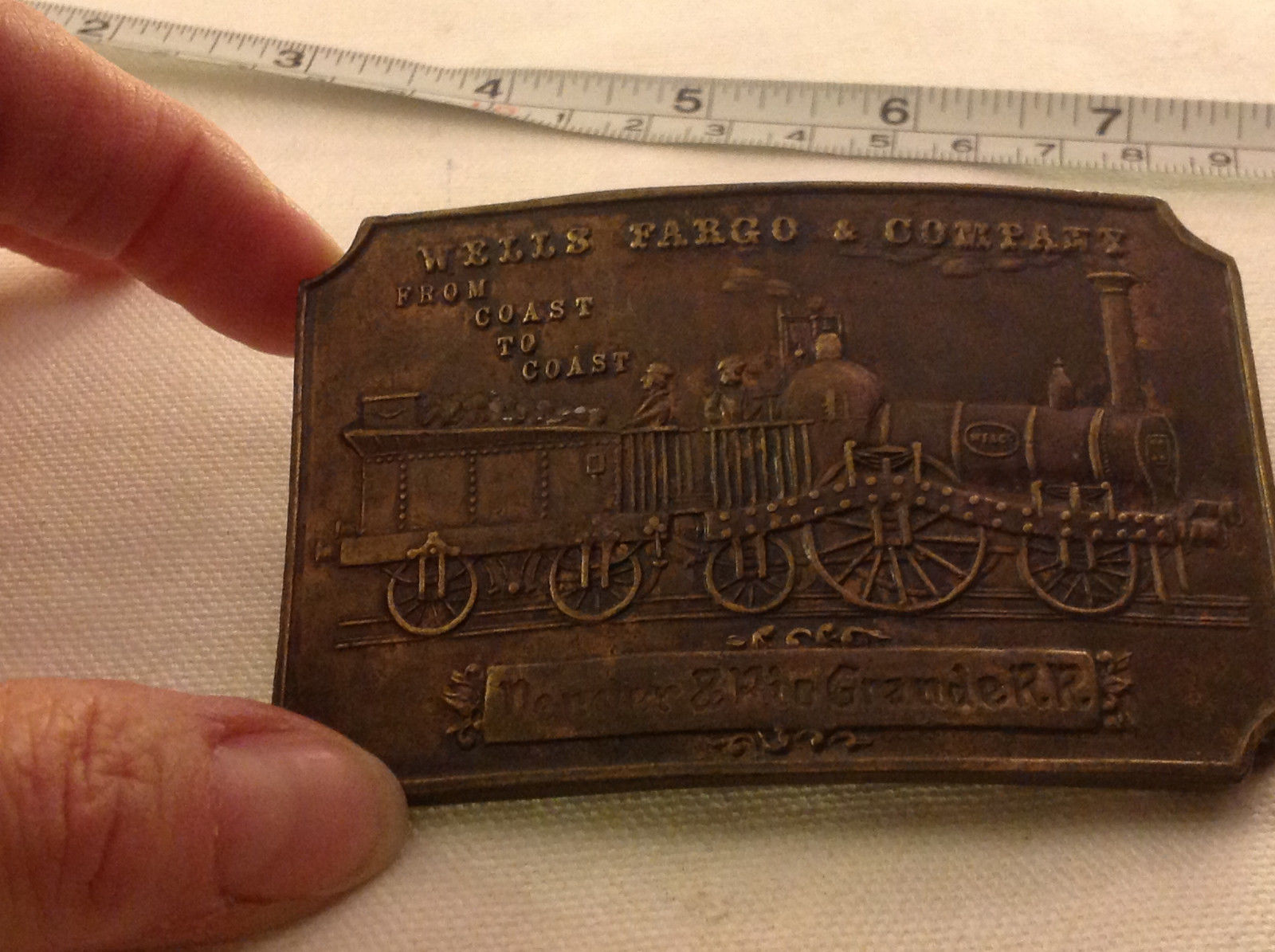 Vintage belt buckle Wells Fargo Rio Grande train w Napoleon medallion inside