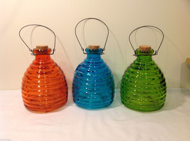 Wasp Bee Striped Color Glass Trap Bottle with Cork Plug and Metal Handle