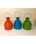 Wasp Bee Striped Color Glass Trap Bottle with Cork Plug and Metal Handle - $31.49