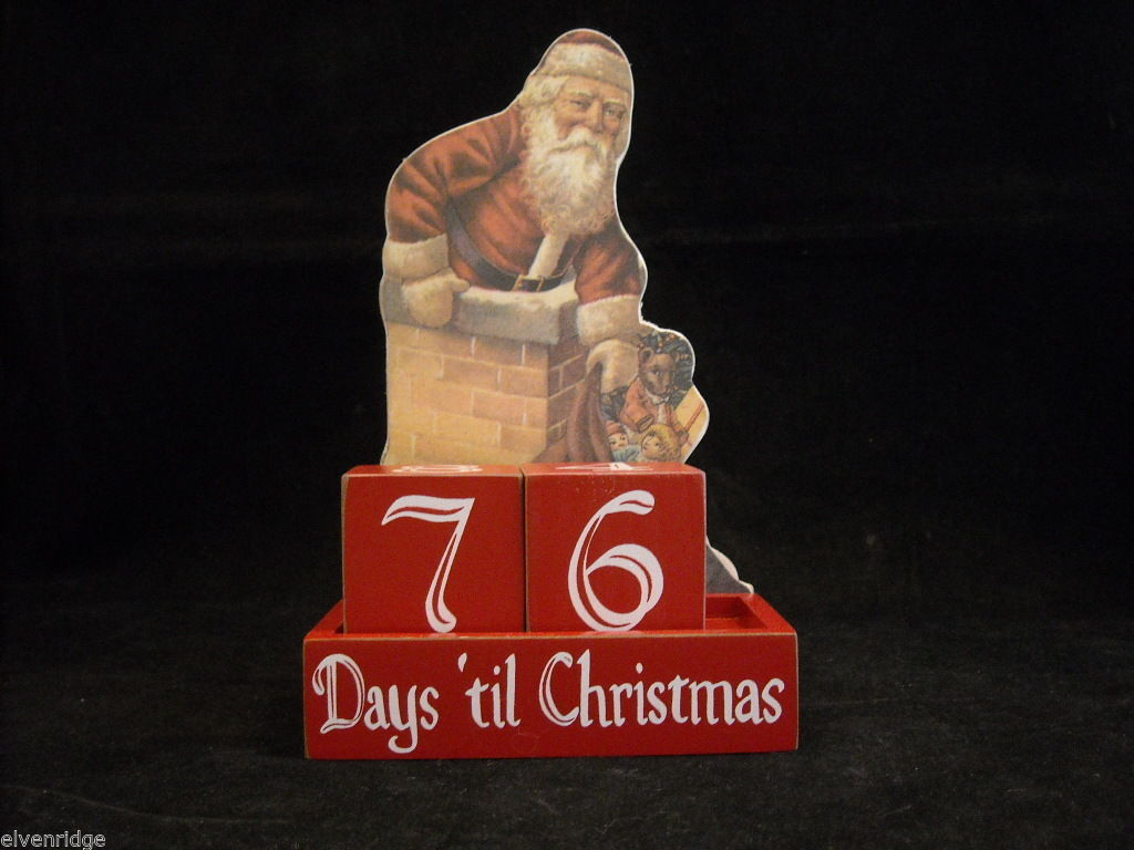 Wooden Countdown to Christmas Decoration with vintage looking Santa