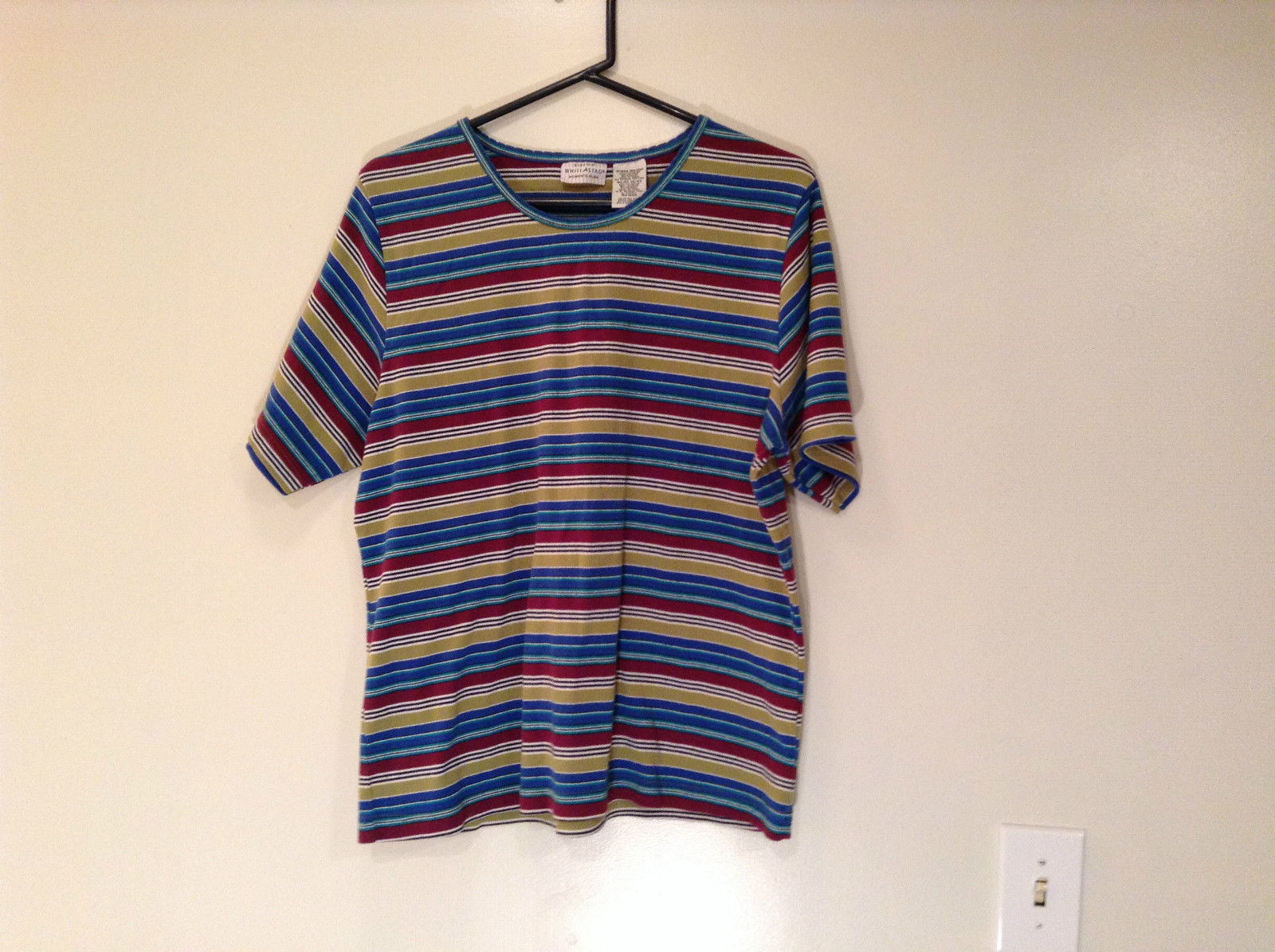 White Stag Stretch Size 18W to 20W Short Sleeve Red Plum with Blue Green Stripes