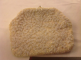 White beaded and sequined vintage handbag w satin interior rhinestone stud comb