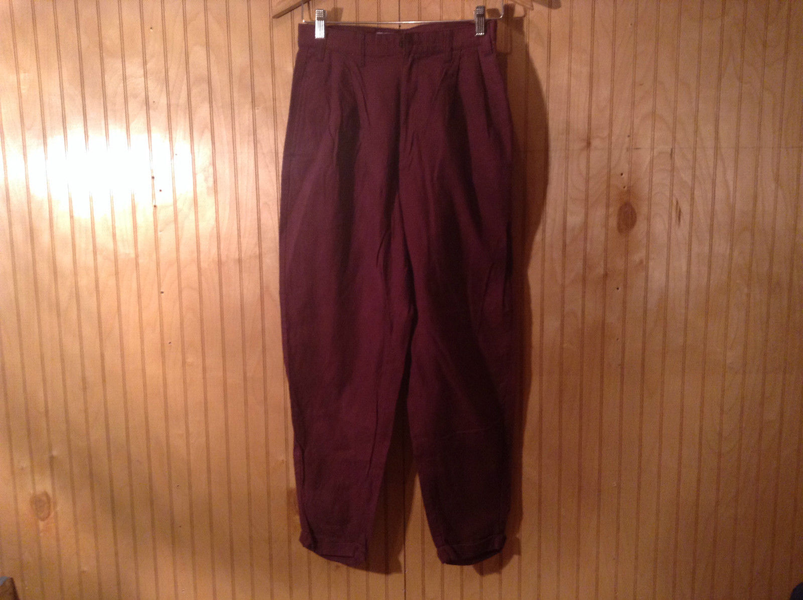 WV Outfitters Dark Red and Black Plaid Casual Pants Size 9 Button Zipper Closure