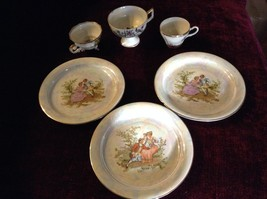 Wakbrzych 6 Piece Set 3 cups 3 Saucers Pearlescent Gold Rimmed  Flowers on Cups