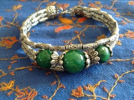 Tibetan Silver Clasp Bracelet Green Jade Stone Bead Funky Exotic Bohemian image 2
