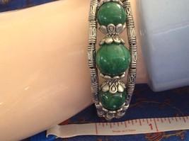 Tibetan Silver Clasp Bracelet Green Jade Stone Bead Funky Exotic Bohemian image 8
