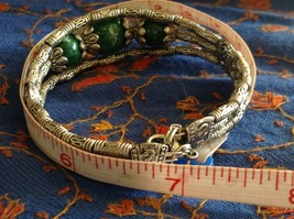 Tibetan Silver Clasp Bracelet Green Jade Stone Bead Funky Exotic Bohemian image 7