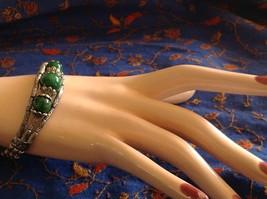 Tibetan Silver Clasp Bracelet Green Jade Stone Bead Funky Exotic Bohemian image 6