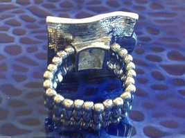 Unique funky silver tone abalone crystal resin architectural statement ring image 5