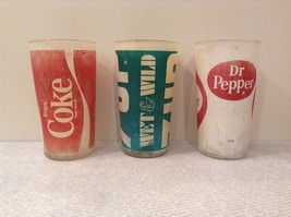 Vintage Glasses One Coca Cola One 7UP and One Dr Pepper White Red White Green image 2