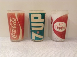 Vintage Glasses One Coca Cola One 7UP and One Dr Pepper White Red White Green image 3