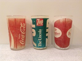 Vintage Glasses One Coca Cola One 7UP and One Dr Pepper White Red White Green image 4