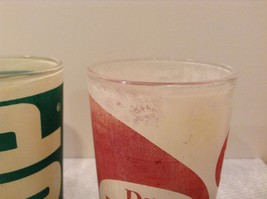 Vintage Glasses One Coca Cola One 7UP and One Dr Pepper White Red White Green image 7