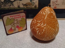 Yellow with White Birds Hand Carved Art Ornament Peruvian Gourd Eco Sustainable