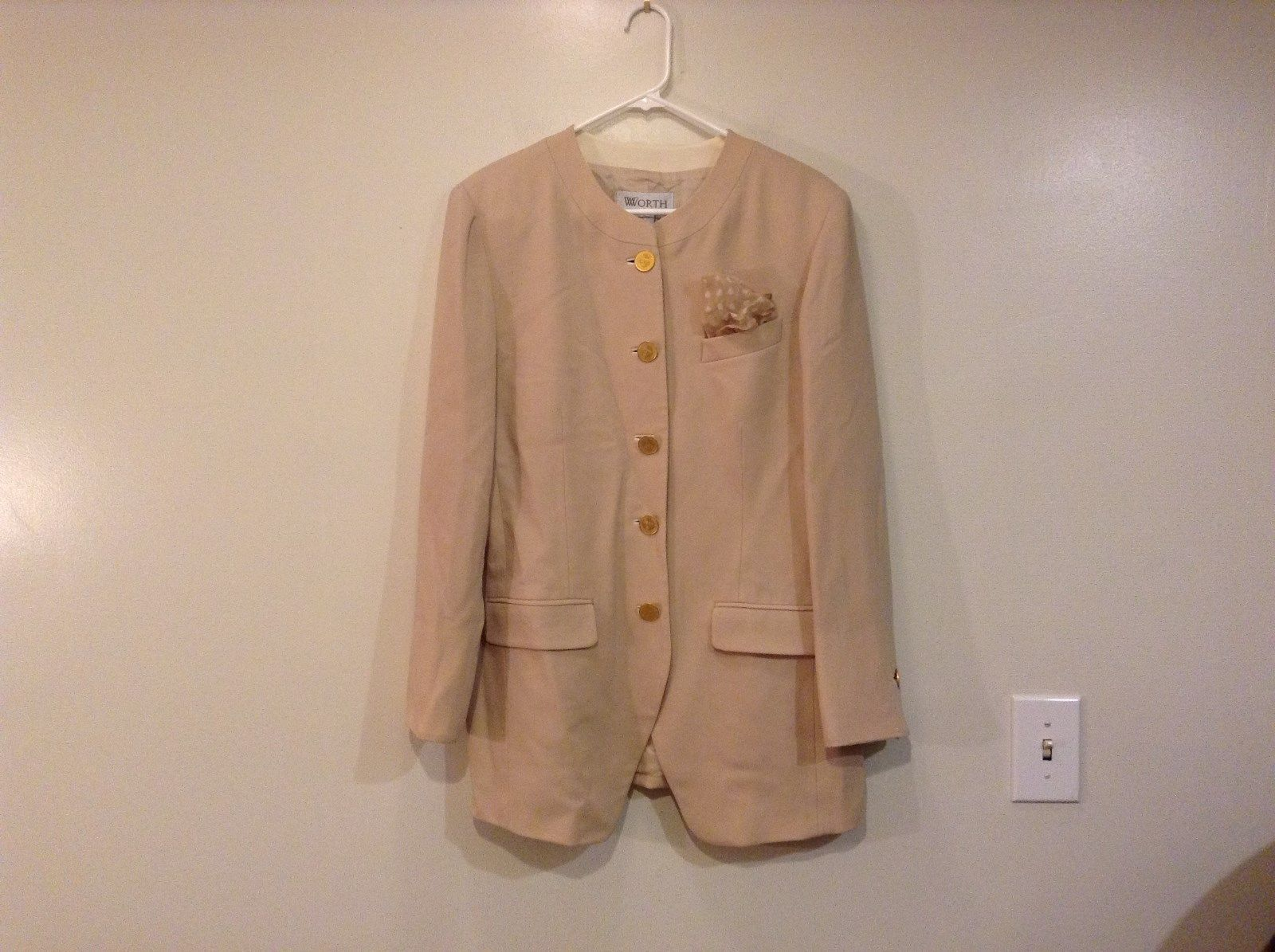 Worth Beige Lined 100 Percent Wool Blazer Jacket Matching Pocket Scarf Size 14