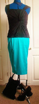 Elegant'South' turquoise lined 40's wiggle/pencil skirt,  size 12. side split - $30.68