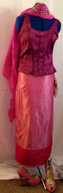 "2 tone Pink ""Bahu-Software Sahri skirt.Indian silk.calf lengback split.Size 12 - $38.35"