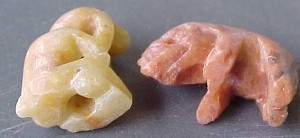 Vintage  2 tiny hand carved  charms soapstone?? animals