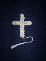 Hand crochet cross bookmark 4 inch plus tassel  in white or color of you... - $3.50