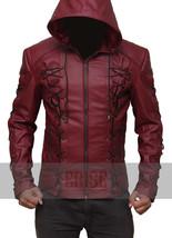 Arrow Arsenal Red Colton Haynes Hooded Leather Jacket - Money Back Guara... - $139.00