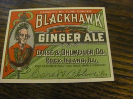 Black Hawk ginger ale label, vintage, 1930s probably, never used - $9.75