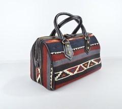 Vintage Kilim leather handbag, tote,shoulder,boho,ethnic,fashion, carry ... - $199.00