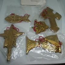 1996 House of Lloyds Symbols of Christianity 5 brass Christmas Ornaments... - $26.00