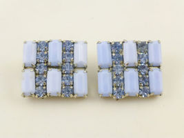 WEISS Blue Rhondochrosite Glass and Blue Rhinestones EARRINGS - Vintage - $42.50
