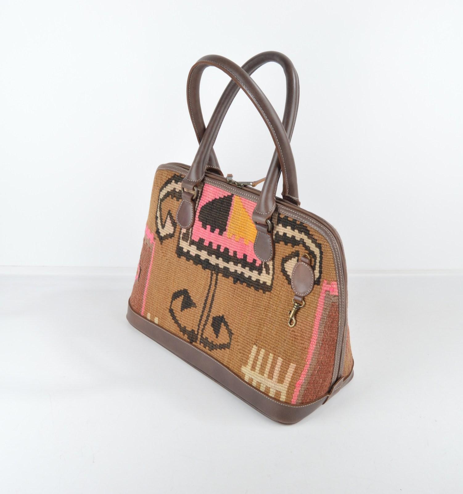 kilim bags,handmade bags,bags and purses,leather bags,wool bag,rug leather bag  - $189.00